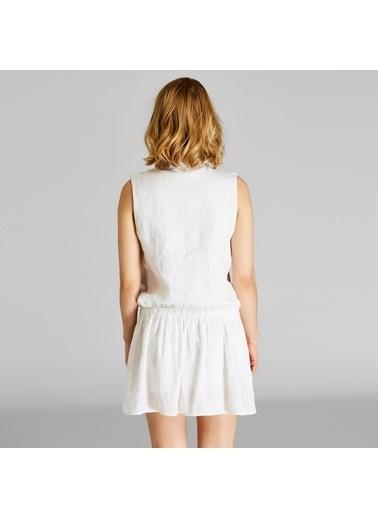 Vekem-Limited Edition Volanlı Büzgülü Mini Elbise Ekru